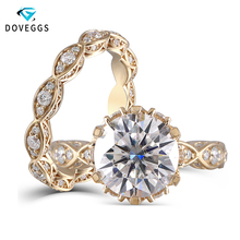 DovEggs 14K 585 Yellow Gold 3ct Center 9mm F color 2.2mm Band Width Moissanite Engagement Ring Set with Accents for Women