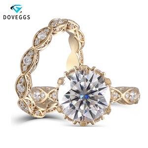 Image 1 - DovEggs anillo de oro amarillo y moissanita para mujer, sortija, oro de 14K, 585, 3CT, centro, 9mm, ancho de banda de 2,2mm, conjunto de anillos de compromiso con Detalles