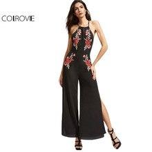 COLROVIE Black Elegant Embroidery Split Front Vintage Jumpsuit/ Catsuit