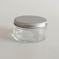 1pcs 200g Clear Glass Mask Cream Bottle Container Jar With Aluminum Screw Cap