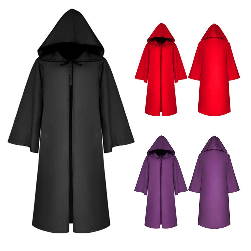Halloween Costume Death Cloak Medieval Cape Star Wars Cloak Solid Color Halloween Cosplay Props Adult Child Size S-XL Adult