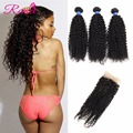 7ABrazilian Curly Virgin Hair With Closure 3 Bundles Brazilian Virgin Hair with Closure Virgin Brazilian Curly Hair With Closure
