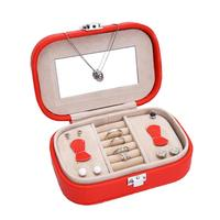 Jewelry Storage Box With Mirror Earring Ring Holder Organizer Finishing Box Leather Travel Case Wedding Display