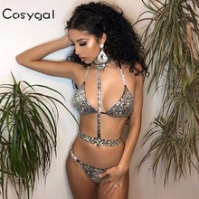 COSYGAL Sexy Sequined Outfits Halter Backless Rhinestone Crop Tops Short Pants