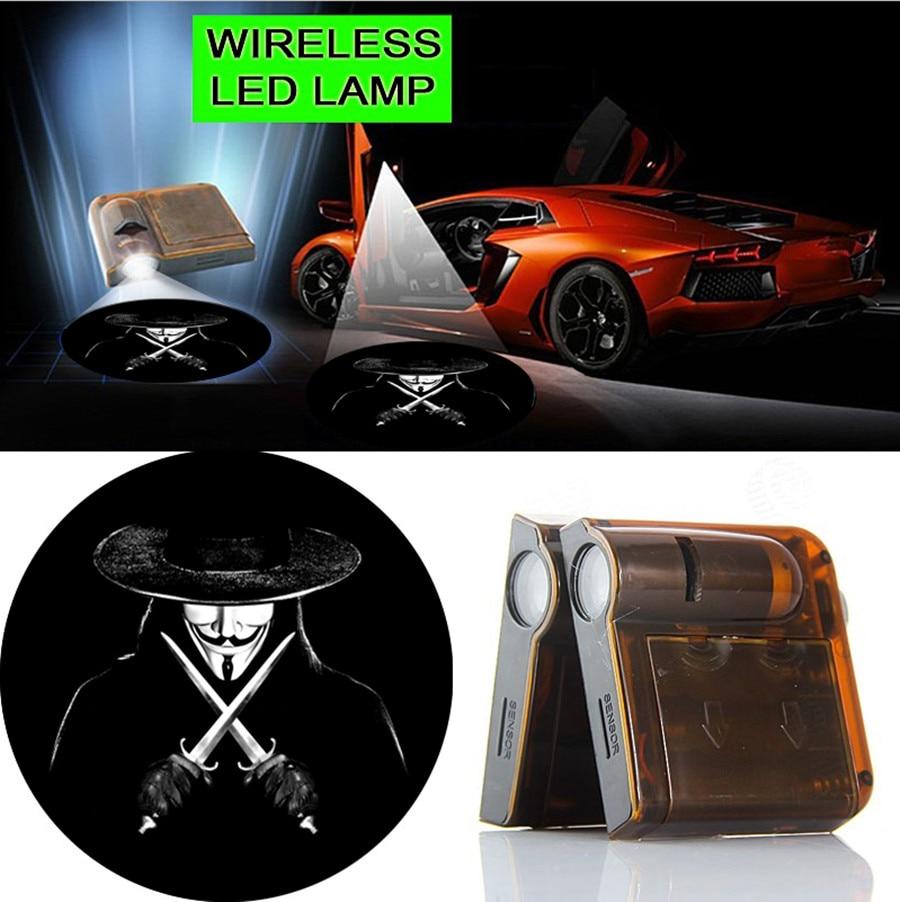 2pcs Vendetta-V Logo Courtesy LED Car Door Wireless Welcome Light Laser Projector Ghost Shadow Lights #1902 2 pcs fc barcelona wireless led car door projectors