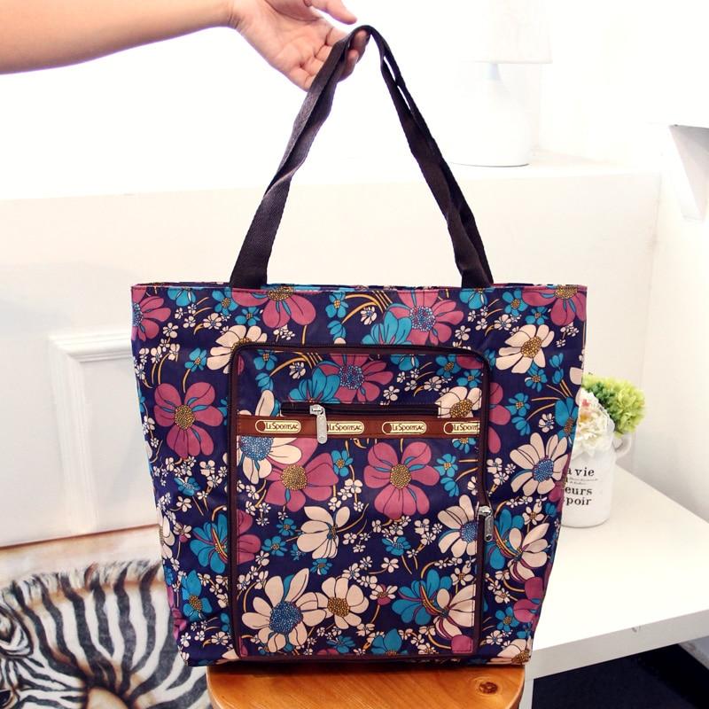 La gran capacidad de nylon ligero bolsa de compras Estampado floral se puede doblar bandolera Los ancianos en estilo rural bolsa de la compra