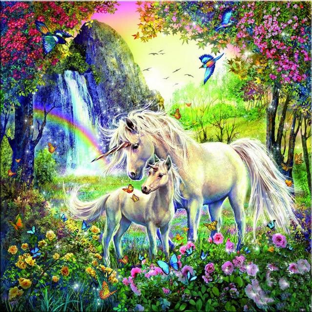 diy 5d embroidery crafts children's painting Cross stitch full diamond cross Kits Mosaic unicorn icons diamond child puzzle