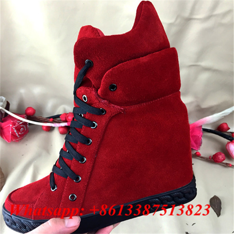 Suede High Top Hidden Wedges Lace Up Zapatillas Deportivas Mujer Fashion Casual Ankle Boots Height Increasing Women Shoes Woman 2 4ghz mini wireless fly air mouse 61 key keyboard w usb nano receiver black