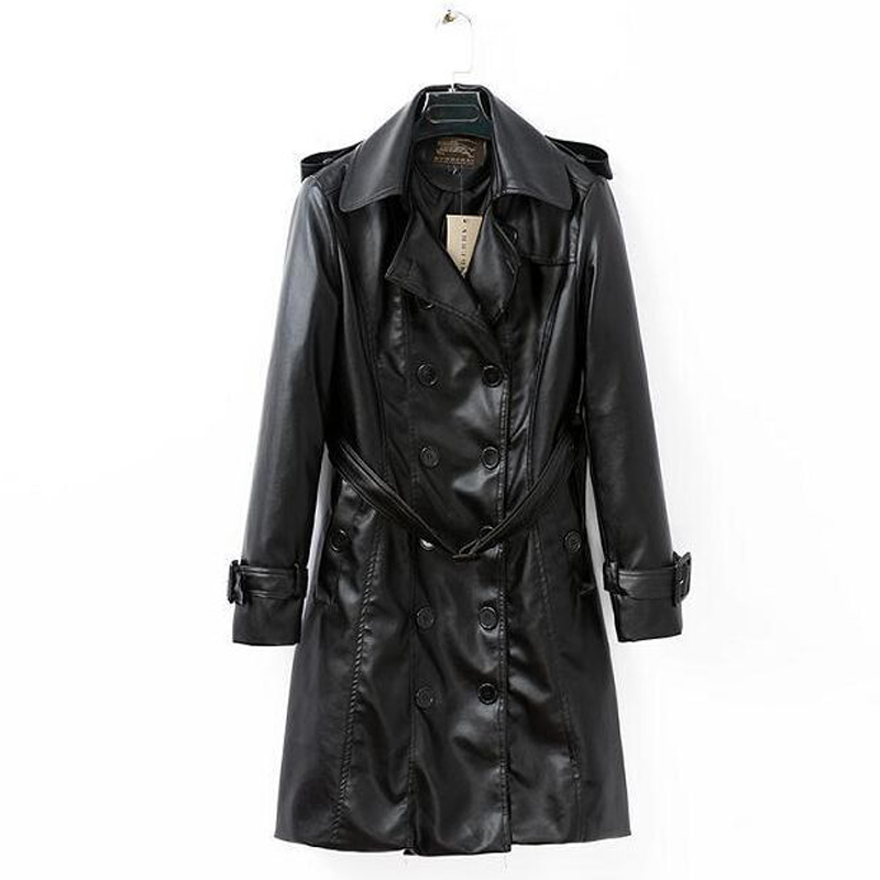 2019 Spring & Winter Fashion Women Luxury Black Pu Leather   Trench   Super Slim Double Breasted Turn Down Collar Coat Female S-XXXL