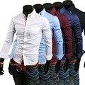 2016 de Primavera de Los Hombres de ocio de moda guapo decoración de la cinta delgada de Manga larga Camisas Blusa de la manera Concisa