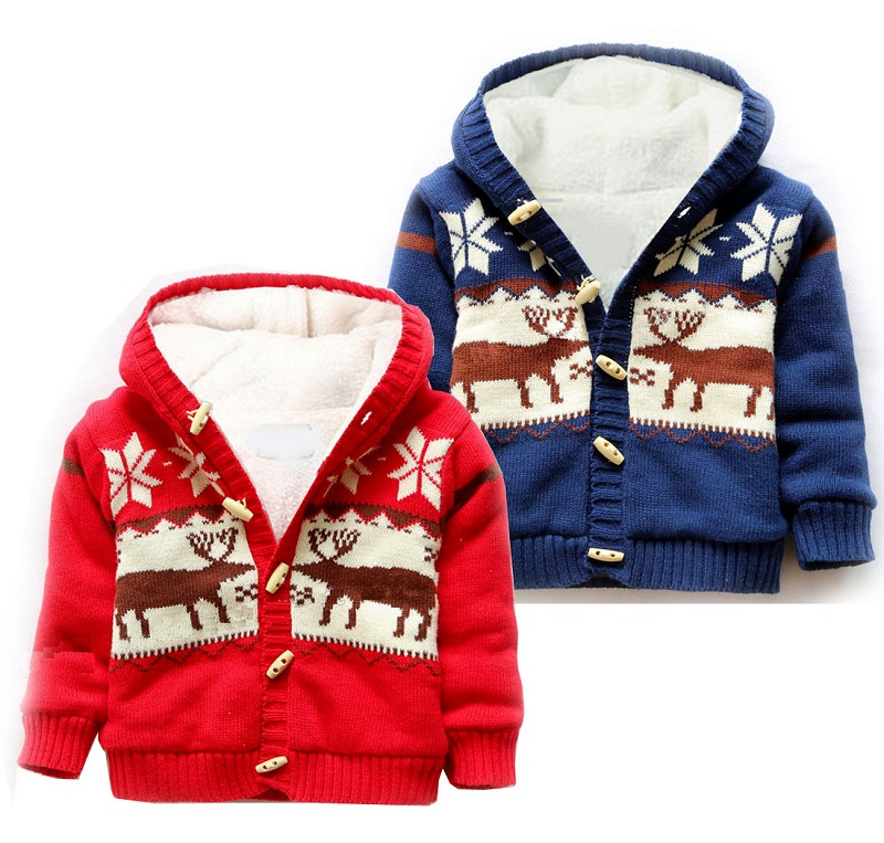 Autumn winter new child Christmas elk Cotton thread Knitted coat Boy and girl hooded plus velvet children's sweater warm coat
