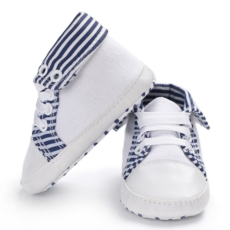 0-18 M Baby Shoes Newborn Striped Girl Boy Soft Sole Crib First Walkers Toddler Canvas Sneaker Prewalker