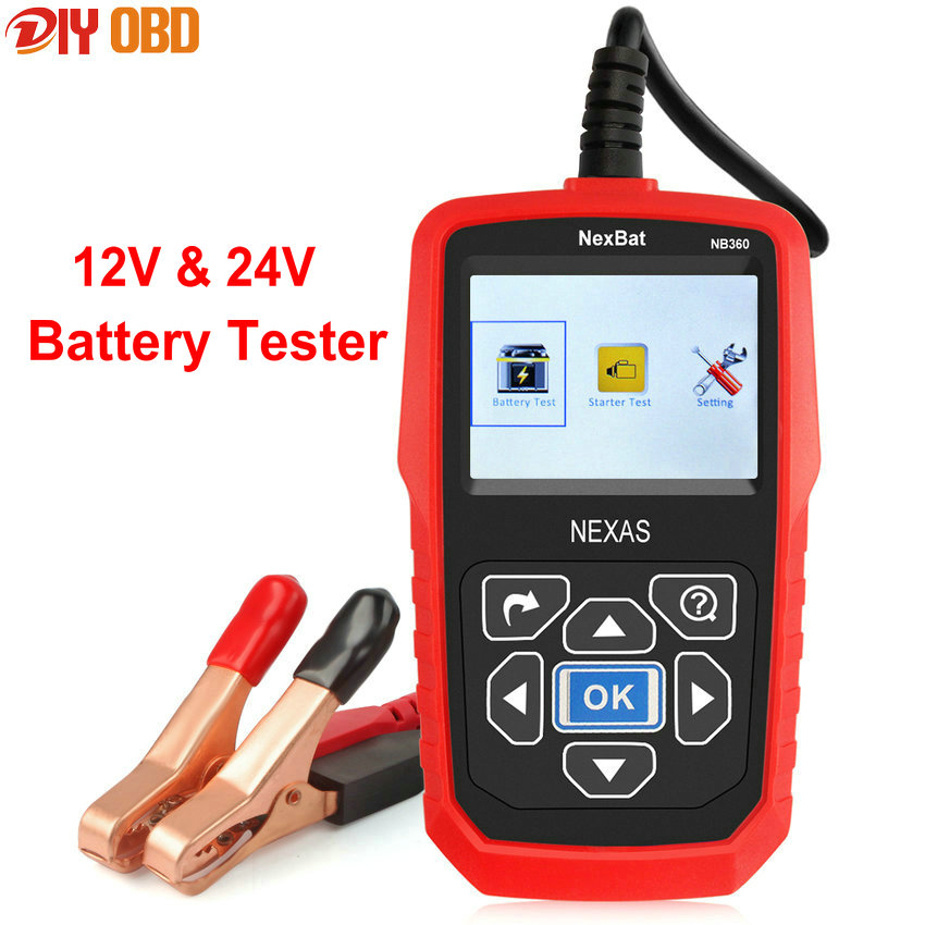 12V & 24V Digital Car Battery Tester NexBat NB360 Battery Analyzer & Starter Test Diagnostic Tool With Russian Multi languages цена и фото