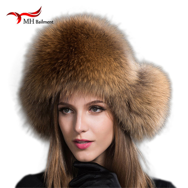 Russia Hot Item Fashion Winter Raccoon&bomber Fox Fur Hat With Ear Flaps For Women Thick and warm Winter Cap