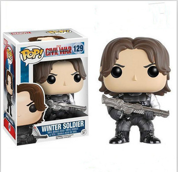 FUNKO POP Marvel Captain America: Civil War Winter Soldier 129# figurine PVC action figure 10CM with box collection toy gifts prettyangel genuine bandai tamashii nations s h figuarts captain america civil war ant man action figure