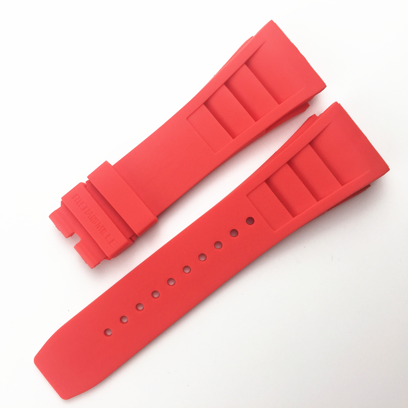 Image 5 - MERJUST 20mm Red Black Green Gray Orange Yellow Soft Silicone Rubber Watchband For Richard Watch Mille RM011 Strap BraceletWatchbands   -