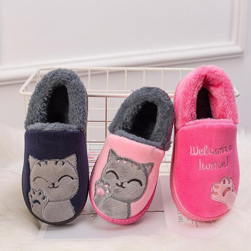 Male Female Baby Slippers Kids Home Slippers Girls Cotton Cartoon Winter Boys Slipper Indoor House Bedroom Baby Soft Flats