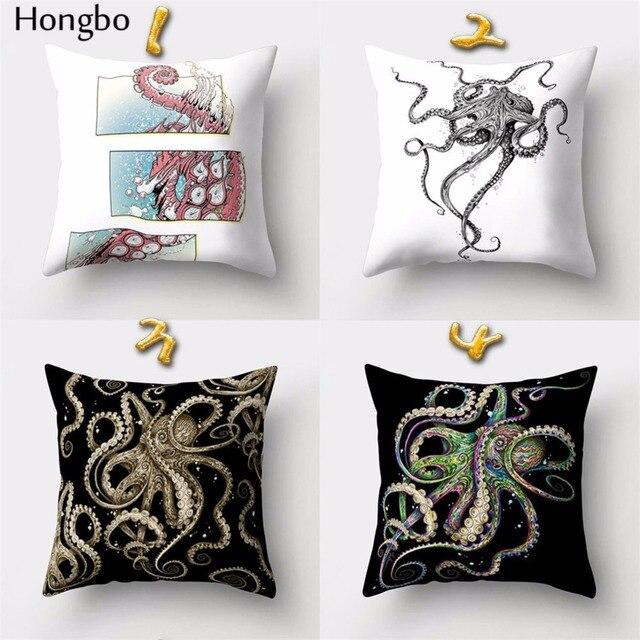 Hongbo 1 Uds de pulpo animal marino almohada casos hogar funda de almohada funda de cojín decoración del coche