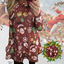 Summer Desses 2018 New Fashion Women Casual Christmas Deer Printed Floral Mini  Dress Long Sleeve O-neck Sexy Party Dress ab9d3518fc2a