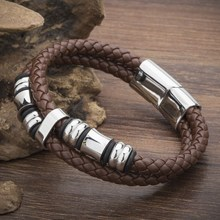 New Fashion Brand Genuine Leather Bracelets For Men Women Clic Knight Courage Stainless Steel Brown