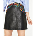 Vogue Floral Embroidery Black PU Leather Skirt saia European Style Back Zipper A-line Mini Skirts Womens BBWM7112