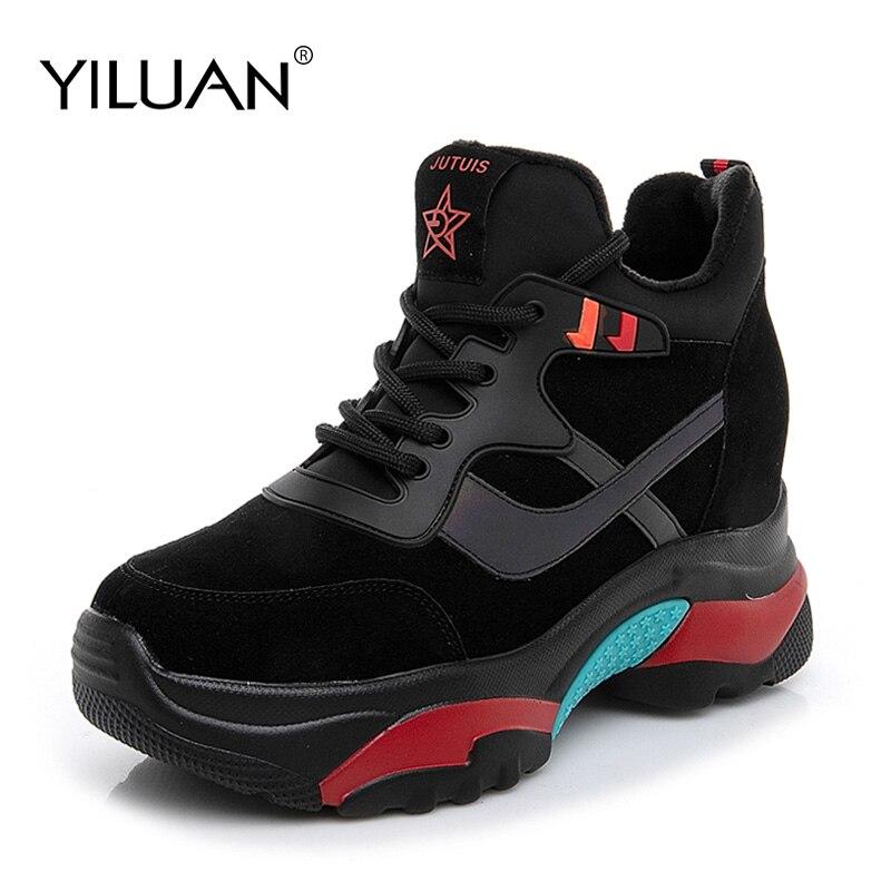 Yiluan marque baskets chaussures femmes noir automne hiver dame chaussures décontractées en peluche femmes couleurs chaussures talon 5 cm Mujer formateurs