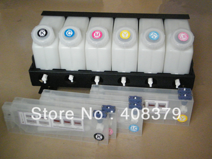 6 color CISS system bulk ink system for Outdoor large format printer plotter (6 ink bottles+6 cartridges+ spare parts)