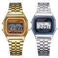 2015 hot LCD Digital Sports relógios de Pulso de Aço Inoxidável Relógio Das Mulheres Dos Homens Do Vintage Relógio Estilo Retro