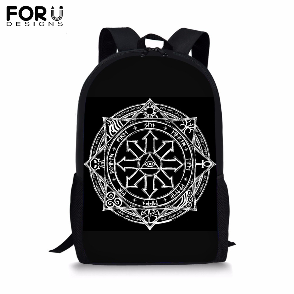 FORUDESIGNS Cool Anime Magic Array Print School Backpack Bag for Kids Child Black BookBag Teenagers Primary Student Bag Bolsa in School Bags from Luggage Bags