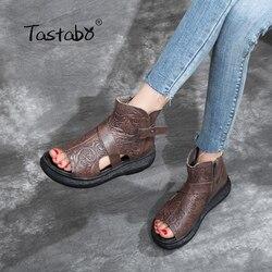 Tastabo 100% Echt Leer Dames sandalen Side rits bovenste print design slijtvaste zool Zwart bruin casual stijl S5667