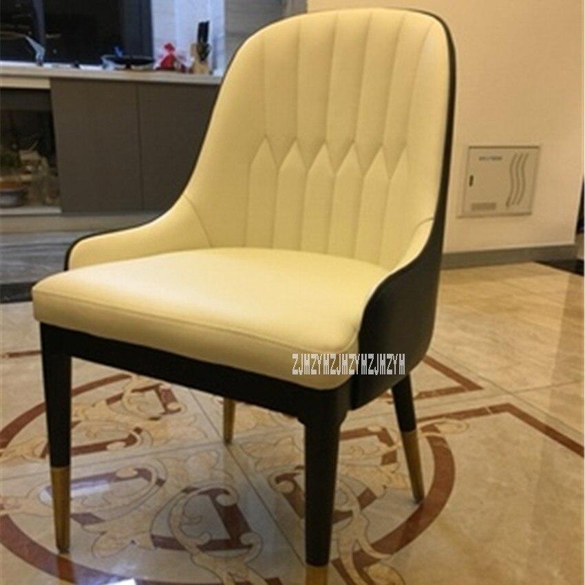 001 стул для столовой, спинка, стул для отдыха, современный Повседневный стул, простой, легкий стул, кожаный стул для переговоров, стул с железной ножкой, повседневный стул - Color: I