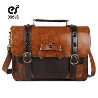 Ecosusi 2016 New Stylish Women PU Leather Bag Casual Women Messenger Bags Vintage Leather Handbag Girl