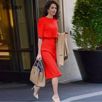 New Celebrity Inspired Women's Dress 2019 Spring Summer Office Work Dress Ladies O Neck Half Sleeve Slim Fitted Dress for Party