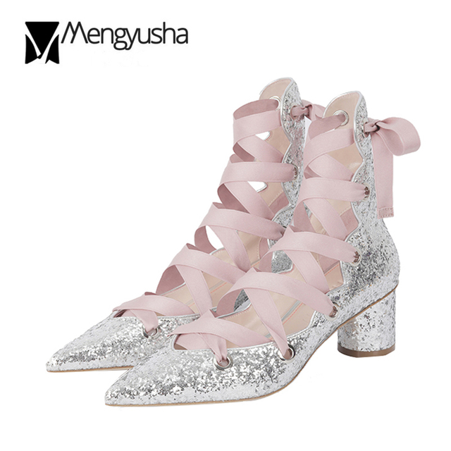 3e986374f7ce Mary Janes Summer Boots Ankle Silk Lace-Up Sandals Silver/Gold Glitter High  Heels Ladies Sequins Sexy Party Wedding Shoes Women