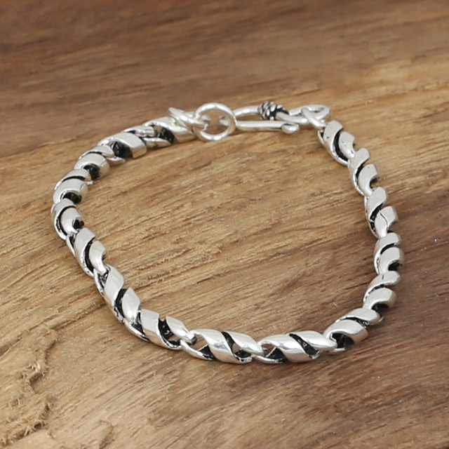 Wholesale silver jewelry manufacturers S925 men's and women's Fashion Silver Handmade Silver Twisted Bamboo Bracelet
