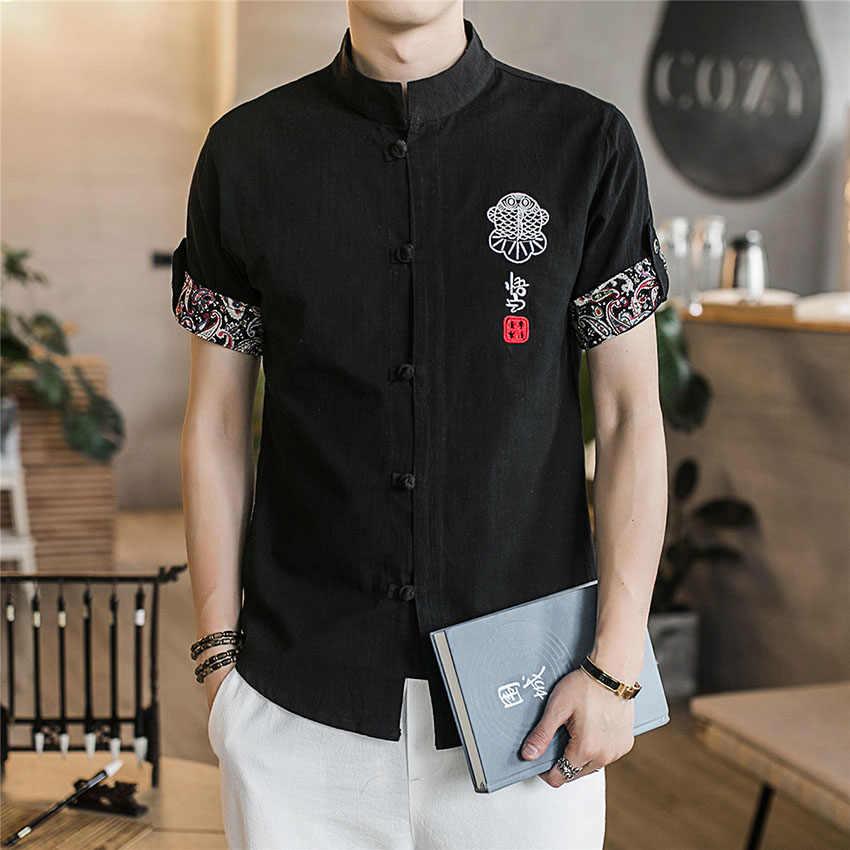 中国シャツ 2018 ニュース夏の刺繍 tangsuit 武術男性服ヴィンテージスタイル繁体字中国語服男性のための