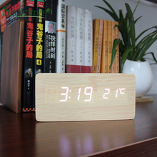 Wooden Digital LED Alarm Clock USB/Battery Powered Thermometer with Sound Control Home Decor
