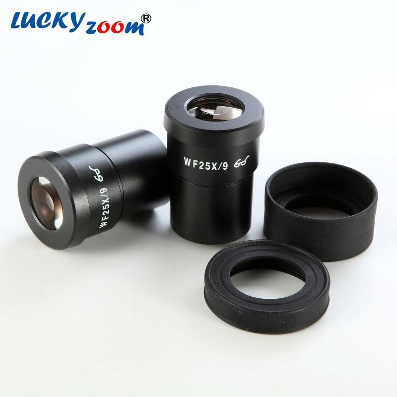 1 Pair Luckyzoom Widefield 25X Trinocular Stereo Zoom Microscope Eyepieces WF25X/9MM Microscopio Accessories Free Shipping стоимость