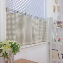 Free shipping coffee Plaid beautiful coffee curtain semi shade small short curtain kitchen curtains W 140cm