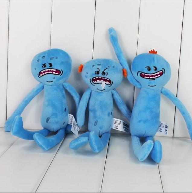 3 шт./лот Рик Морти и 25 см Счастливый Грустно Гнев Meeseeks Фаршированные Плюшевые Игрушки Куклы