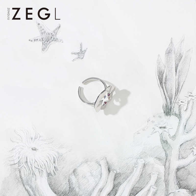 Zegl designer legal estrela do mar anéis para mulher índice dedo anel sub-vermelho personalidade estudante conjunta anéis