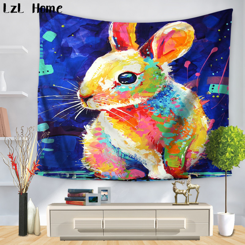 LzL Home Fancy Colorful Animales Pattern Tapestry Bird Rabbit Elephant Wall Hanging Bboho Bedspread Yoga Mat Blanket Wall Carpet