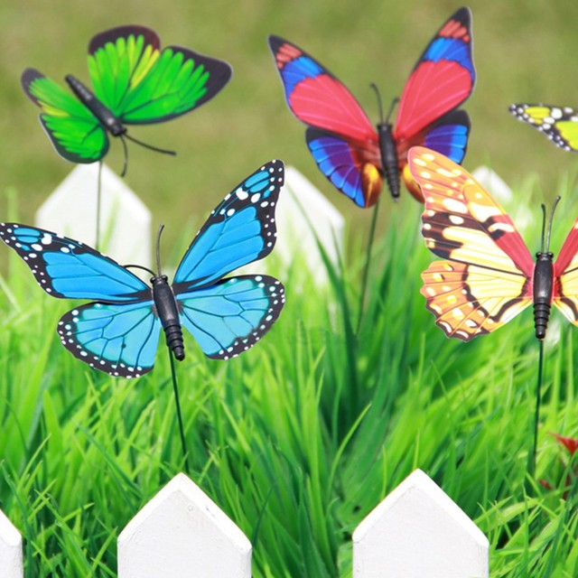 20Pcs/pack Colorful 3D Simulation Butterflies Home Flowerpot Decoration  Garden Accessories Ornament Butterfly Decor