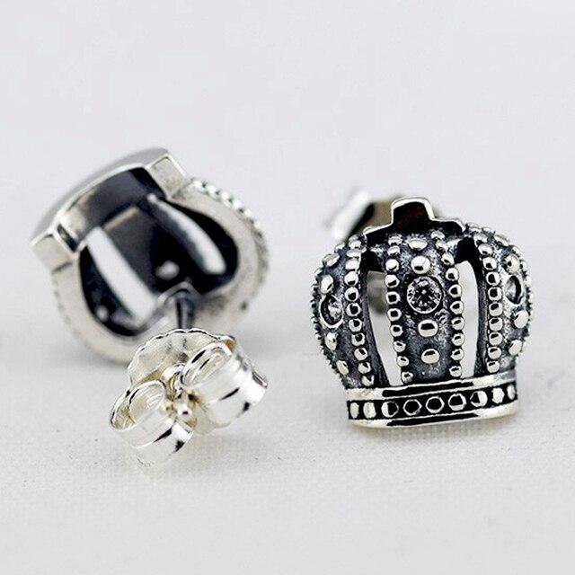 Совместим с марка 925 серебряные серьги для женщин мода драгоценности короны серьги с четкими CZ