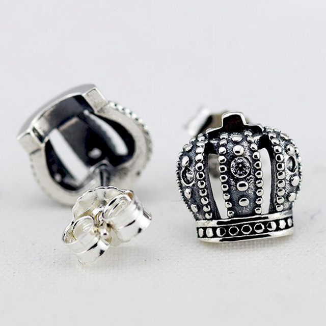 Compatible with Brand 925 Sterling Silver Earrings for Women Fashion Jewelry Crown Stud Earrings with Clear CZ