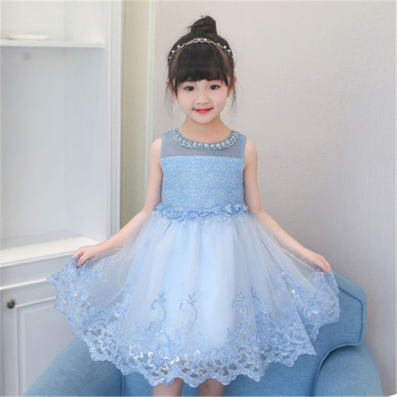 Girls Dress Summer 2018 Sleeveless Solid White Pink Blue Purple Colour Lace Girls Princess Dresses 2-11Y Boutique Girl Costume new arrival girls sleeveless summer tutu dress 3 12years toddler teenage boutique clothing fancy dresses blue purple pink white