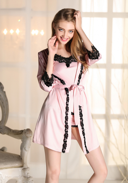 Sexy Womens Pajamas Faux Silk Robe Suit Ladies Spaghetti Strap Robe+Top+Shorts Lace Splicing Indoor Clothing Gowns Set