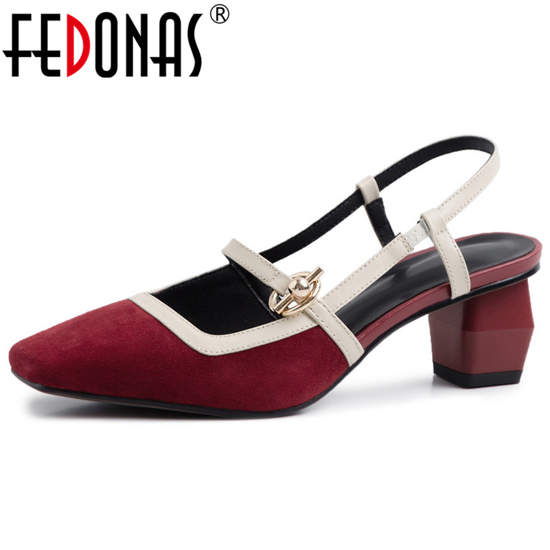 FEDONAS Women Sexy Brand Pumps Cow Leather Strange Heeled Metal Decoration Prom Party Shoes Spring Summer