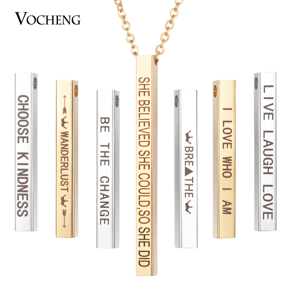 50cm Inspire stainless steel jewelry Bar Quote Necklace women fashion dainty