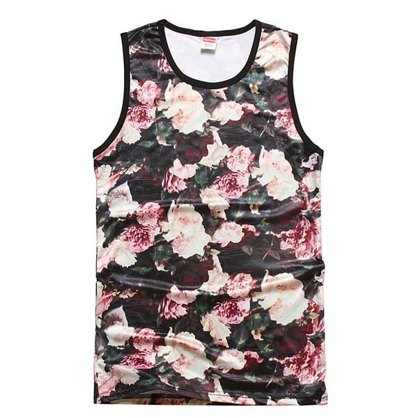 df02ea3cf4af1b 2014 new style gym tank top Polyester Flowers Floral vest male vest singlet  men Pink Explosion models SLB511 M